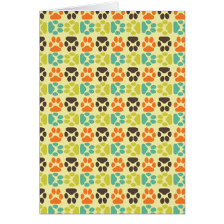 Whimsical Cute Paws Pattern Card