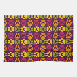 Whimsical Cute Paws Pattern Hand Towel