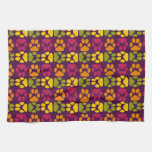Whimsical Cute Paws Pattern Kitchen Towels