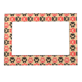 Whimsical Cute Paws Pattern Magnetic Photo Frame