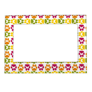 Whimsical Cute Paws Pattern Magnetic Frames