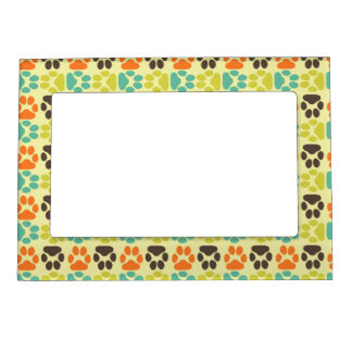 Whimsical Cute Paws Pattern Picture Frame Magnets