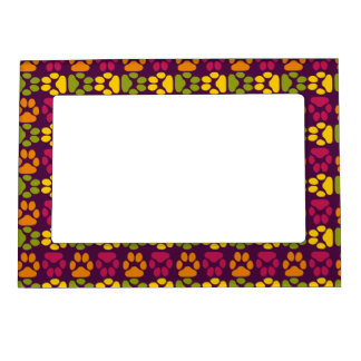 Whimsical Cute Paws Pattern Magnetic Picture Frame
