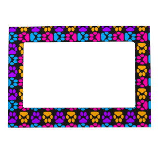 Whimsical Cute Paws Pattern Picture Frame Magnet