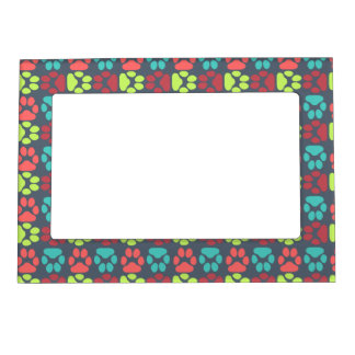 Whimsical Cute Paws Pattern Photo Frame Magnet