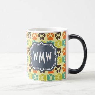 Whimsical Cute Paws Pattern Monogram Magic Mug