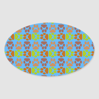 Whimsical Cute Paws Pattern Oval Sticker