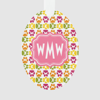 Whimsical Cute Paws Pattern Pink Monogram Ornament