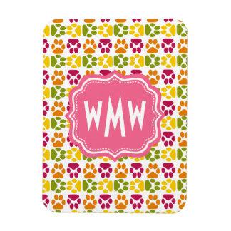 Whimsical Cute Paws Pattern Pink Monogram Rectangular Photo Magnet