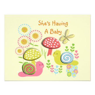 Whimsical Cute Pink Blue Baby Shower Custom Invite