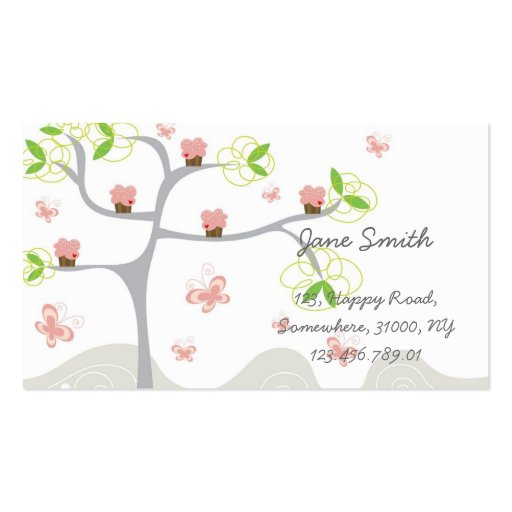 Whimsical Cute Pink Cupcakes Tree Profile Card Double-Sided Standard Business Cards (Pack Of 100)