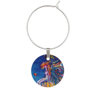 WHIMSICAL CUTE RED FLOWER FAIRY IN BLUE WINE GLASS CHARM