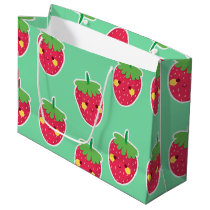 Whimsical Cute Strawberries character pattern Large Gift Bag