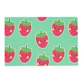 Whimsical Cute Strawberries character pattern Placemat