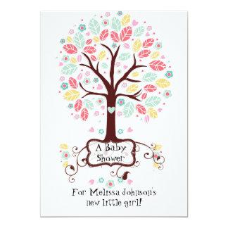 Whimsical Cute Swirl Heart Flower Tree Baby Photo 5x7 Paper Invitation Card