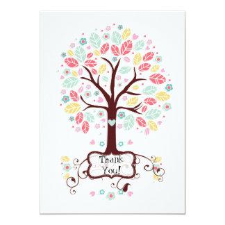 Whimsical Cute Swirl Heart Flower Tree Baby Shower 5x7 Paper Invitation Card