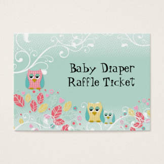 Whimsical Cute Swirl Owl Baby Diaper Raffle Ticket
