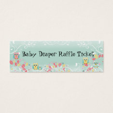 Whimsical Cute Swirl Owl Baby Diaper Raffle Ticket at Zazzle