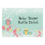 Whimsical Cute Swirl Owl Baby Diaper Raffle Ticket Large Business Cards (Pack Of 100)