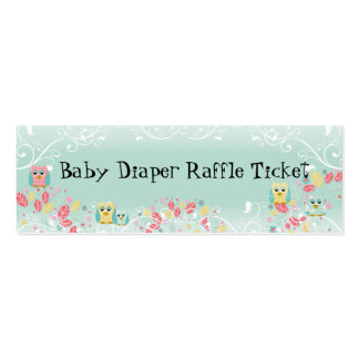 Whimsical Cute Swirl Owl Baby Diaper Raffle Ticket Business Card Templates