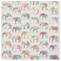 Whimsical Cute Watercolor Elephants Pattern Fabric