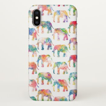 Whimsical Cute Watercolor Elephants Pattern iPhone X Case
