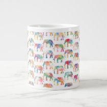 Whimsical Cute Watercolor Elephants Pattern Large Coffee Mug