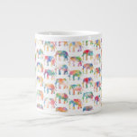 Whimsical Cute Watercolor Elephants Pattern Jumbo Mugs