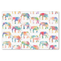 Whimsical Cute Watercolor Elephants Pattern Tissue Paper