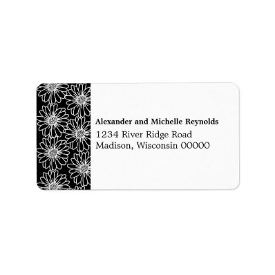 Whimsical Daisies Address Labels, Black Label