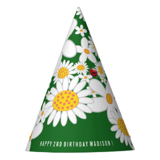 Whimsical Daisies & Ladybugs Birthday Party Hat