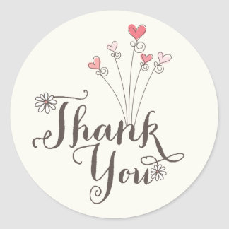 Whimsical Daisies Love Girl 1st Birthday Thank You Classic Round Sticker
