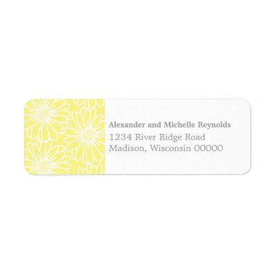 Whimsical Daisies Return Address Labels, Yellow Label