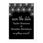 Whimsical Daisies Save the Date Postcard, Black