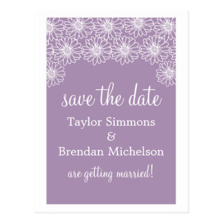 Whimsical Daisies Save the Date Postcard, Lilac Postcard