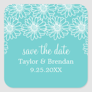 Whimsical Daisies Save the Date Stickers, Aqua Square Sticker