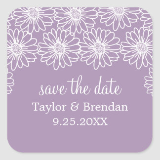 Whimsical Daisies Save the Date Stickers, Lilac Square Sticker