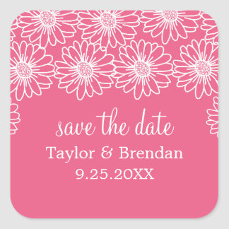 Whimsical Daisies Save the Date Stickers, Pink Square Sticker