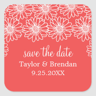 Whimsical Daisies Save the Date Stickers, Red Square Sticker