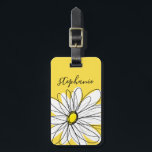"""Whimsical Daisy Custom Text and can edit color Luggage Tag<br><div class=""""desc"""">A zen and whimsical,  hipster piece of art. You can add a name,  monogram or other custom text. If you need to move the art around,  click on the customize button to make changes.</div>"""