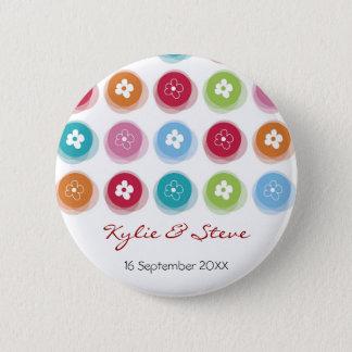 Whimsical Daisy Fuzzy Color Dots Wedding Button