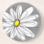 "Whimsical Daisy in gray and yellow Coaster<br><div class=""desc"">A cute floral drawing of a modern flower.</div>"