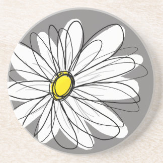 Whimsical Daisy in gray and yellow Coasters