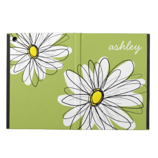 Whimsical Daisy with Lime Green Background iPad Air Cases