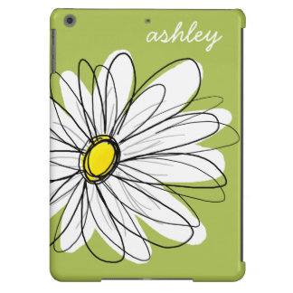 Whimsical Daisy with Lime Green Background iPad Air Cover