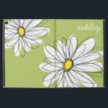 """Whimsical Daisy with Lime Green Background iPad Pro 12.9&quot; Case<br><div class=""""desc"""">A zen and spring,  hipster cover. A whimsical drawing. I illustrated this flower in early 2013.</div>"""