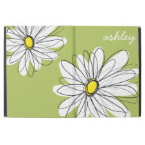 "Whimsical Daisy with Lime Green Background iPad Pro 12.9"" Case"