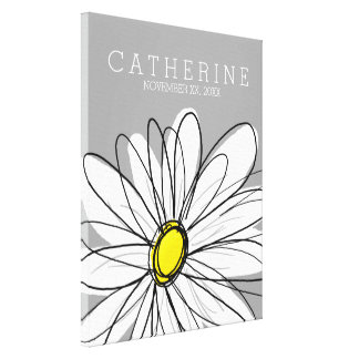 Whimsical Daisy Yellow and Gray Kids Room Canvas Print