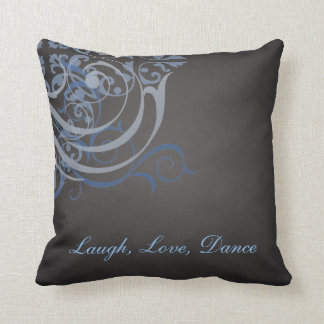 Whimsical Dance Blue Scroll Black Mojo Pillow