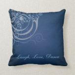 Whimsical Dance Blue Scroll Blue Mojo Pillow
